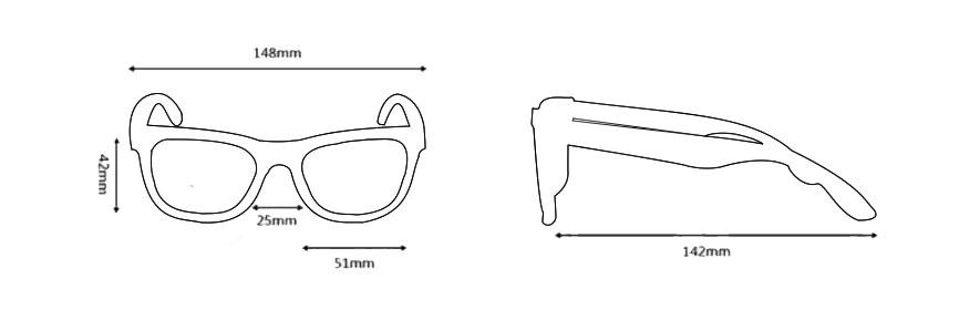 Medidas de gafas de sol, modelo 1